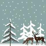 Deer. Background illustration with deer silhouettes in the winter Royalty Free Stock Photo