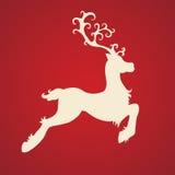 Deer. White deer on red background vector illustration