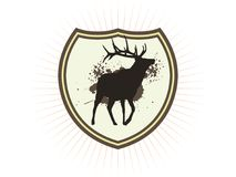 Deer. Emblem with a deer and color drips Stock Photography