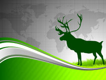 Deer on Abstract Green Background with World Map Royalty Free Stock Photos