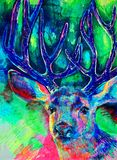 Deer with abstract paint on bright color background stock illustration