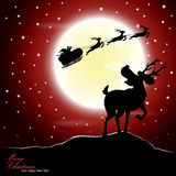 Deer afraid see Santa Claus riding a sleigh pulled by reindeer. Vector illustration of deer afraid see Santa Claus riding a sleigh pulled by reindeer with the Royalty Free Stock Image