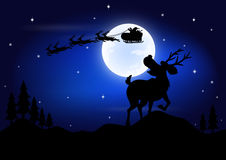 Deer afraid see Santa Claus riding a sleigh pulled by reindeer. Vector illustration of deer afraid see Santa Claus riding a sleigh pulled by reindeer with the Stock Photography