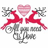 Deer, all you need is love stock illustration
