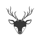 Deer animal face. With horns silhouette. vector illustration Royalty Free Stock Photos