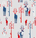 Deer antlered and fantasy trees Stock Photos