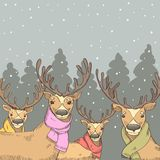 Deer on the background of the winter forest Royalty Free Stock Photography