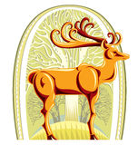 Deer with beautiful big horns. Deer with beautiful big horns and trees on background layer graphic stylized illustration Stock Photos