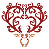 Deer with beautiful horns and hearts.  Royalty Free Stock Photography