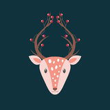 Deer with berries in his horns. Vector illustration Stock Images