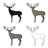 Deer with big horns.Animals single icon in cartoon style vector symbol stock illustration web. Stock Photography