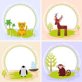 Deer, bird penguin, jaguar, leopard,, set of cards design  with funny animals, template banner for your text with round Royalty Free Stock Photography