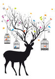 Deer with birds and birdcages, vector Stock Photography