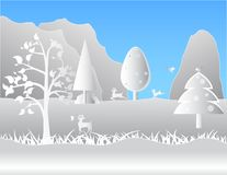 Deer and birds in the forest and mountains. Stock Photo
