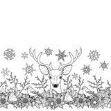 Deer and Birds Outline Seamless Border Stock Photography