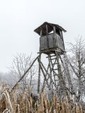 Deer blind. Wooden deer blind in the middle of the corn field Royalty Free Stock Image