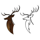 Deer Buck Elk. Wild animal head with horns stock illustration