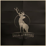 Deer buck on fool moon badge Stock Images