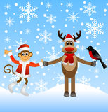 Deer with bullfinches and a monkey Royalty Free Stock Photos