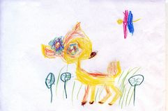 A deer and a butterfly in a clearing. Children`s drawings.  royalty free illustration
