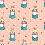 Deer and cakes pattern Stock Image