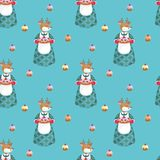 Deer and cakes seamless pattern Stock Photography