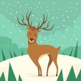 Deer Cartoon Animal Reindeer Winter Forest. Flat Vector Illustration Royalty Free Illustration
