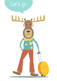 Deer cartoon character with travel bag,Can be used for postcard Royalty Free Stock Photos