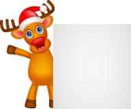 Deer cartoon Christmas with blank sign Royalty Free Stock Photos