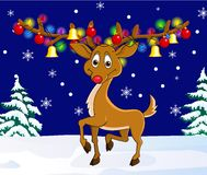 Deer cartoon with christmas lamp Stock Images