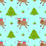 Deer cartoon christmas tree seamless pattern Royalty Free Stock Photography