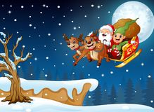 Deer cartoon standing in the hill at christmas night stock illustration