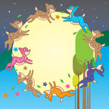 Deer chase moon template circle Royalty Free Stock Photography