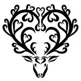 Deer with chic horns, hearts.  Stock Image