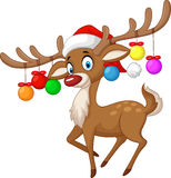 Deer with Christmas ball Royalty Free Stock Photos