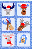 Deer. Christmas card with picture funny deer Royalty Free Stock Photos