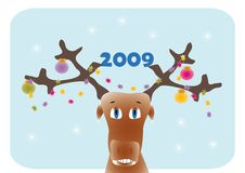 Deer and christmas decorations. New year frame with cartoon deer and christmas-tree decorations royalty free illustration