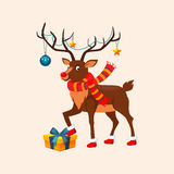 Deer with a Christmas Garland on the Horns. Vector Stock Photo