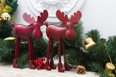 Deer in the Christmas interior Stock Photos