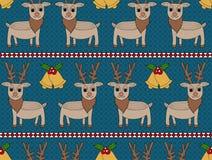 Deer Christmas Seamless Pattern. Deer and bell seamless pattern. Christmas Background Stock Illustration