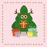 Deer in christmas tree suit. With gifts Stock Illustration