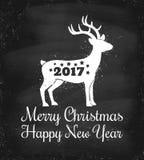 Deer for Christmas. Vector vintage illustration of a deer for Christmas on chalkboard background stock illustration
