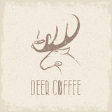 Deer coffee negative space concept grunge vector design Royalty Free Stock Photography