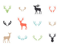 Deer collection - vector silhouette. Black silhouettes of different deer horns, vector vector illustration
