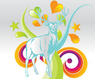 Deer with colored background Royalty Free Stock Photos