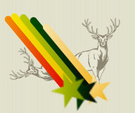 Deer with colored background. Editable  illustration of a Deer with colored background Royalty Free Stock Image