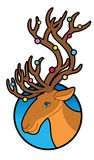 Deer with colored lights on the horns Royalty Free Stock Photo