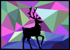 Deer on a colorful background. Silhouette of a deer on a low-poly background.  It can be used as a background Royalty Free Stock Images