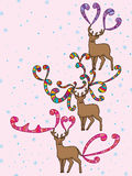Deer colorful card snowflake Royalty Free Stock Image