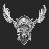 Deer Cool animal wearing native american indian headdress with feathers Boho chic style Hand drawn image for tattoo. Deer Hand drawn illustration for tattoo Stock Photos